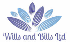 Wills and bills logo two blue colour leaves